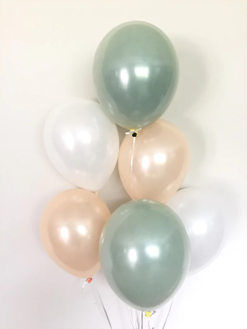sage green balloons light