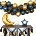 Black Navy And Gold Balloon Garland New Year S Eve Balloon Garland Kiss Me At Midnight Navy And Gold Galaxy Birthday Decor Gold Moo