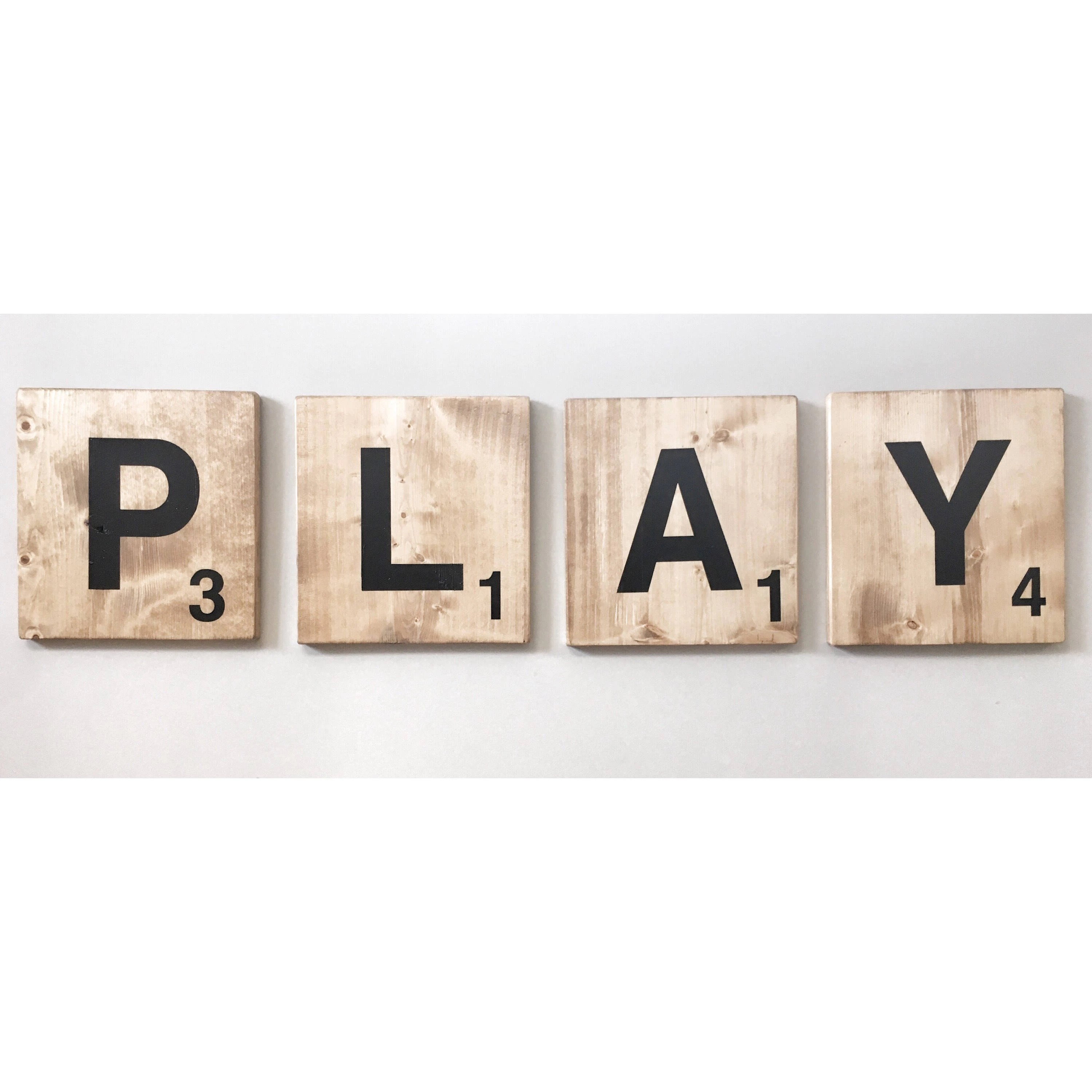 free shipping giant play scrabble tile letters jumbo wooden kids tile wall art large words for playroom nursery family room wood tiles