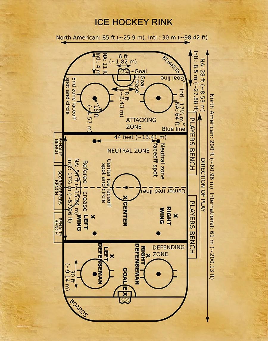hockey player diagram tim water temperature gauge wiring ice rink vers 1 art print decor poster gift patent