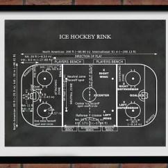 Hockey Player Diagram Speaker Jack Wiring Ice Rink Vers 2 Art Print Etsy Image 0