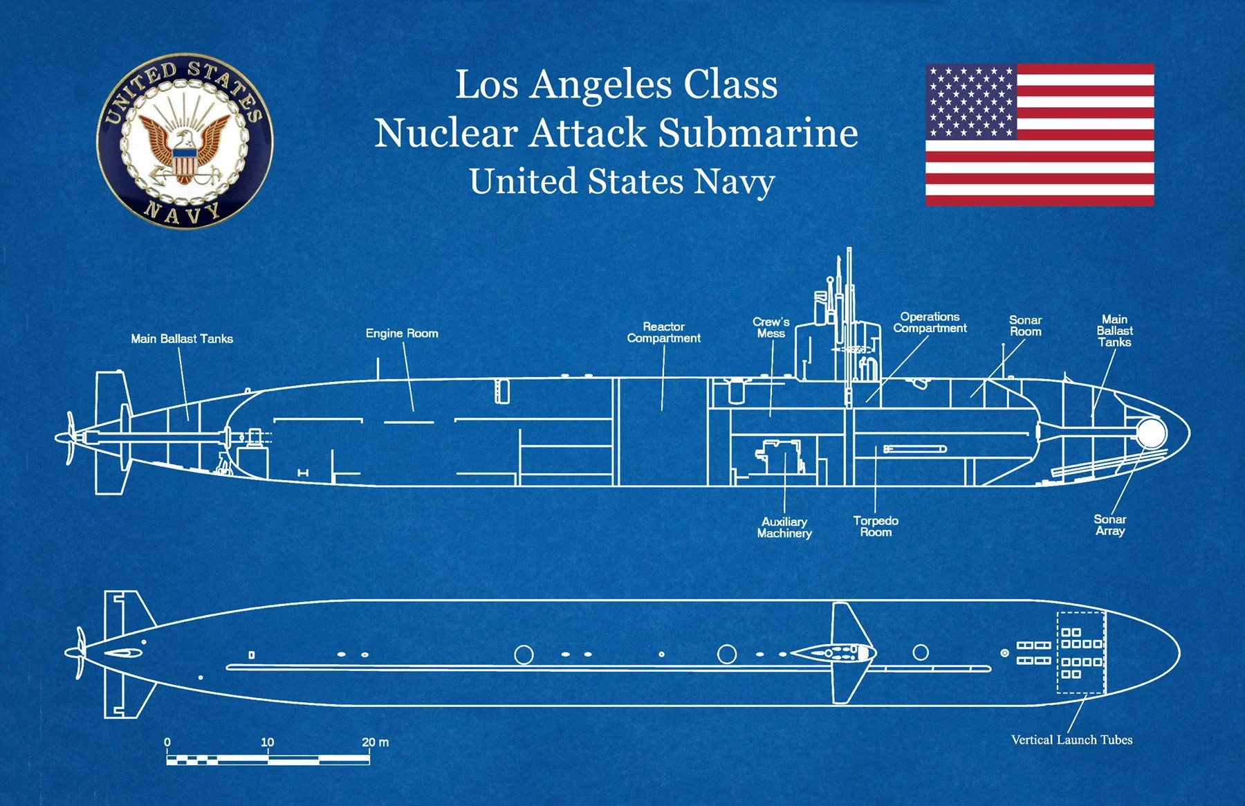 hight resolution of uss los angeles ssn 688 class submarine art print poster naval wall art war ship art military art us navy nuclear attack submarine