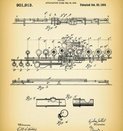1908 flute patent print musical instrument woodwind instrument orchestra art marching band jazz band gift music room decor [ 1200 x 1527 Pixel ]