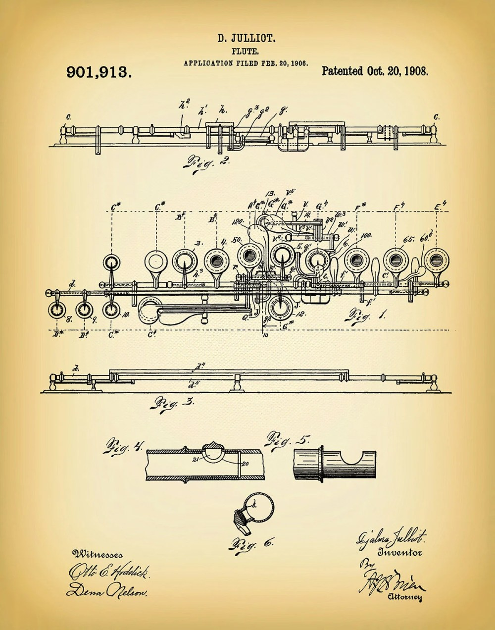 medium resolution of 1908 flute patent print musical instrument woodwind instrument orchestra art marching band jazz band gift music room decor