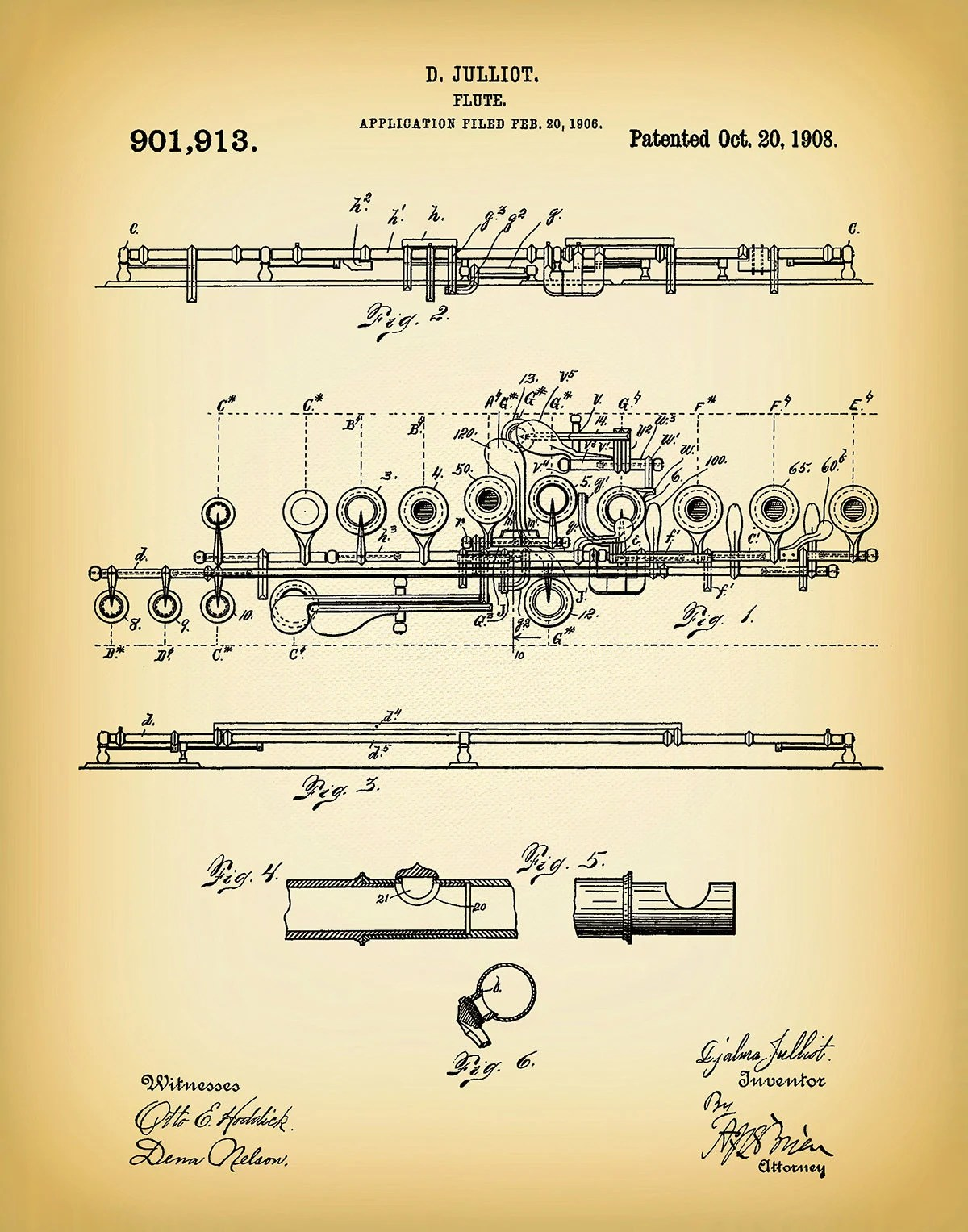 hight resolution of 1908 flute patent print musical instrument woodwind instrument orchestra art marching band jazz band gift music room decor