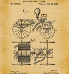 1885 electric fire engine patent print fire house decor firefighter gift idea fire [ 1179 x 1500 Pixel ]