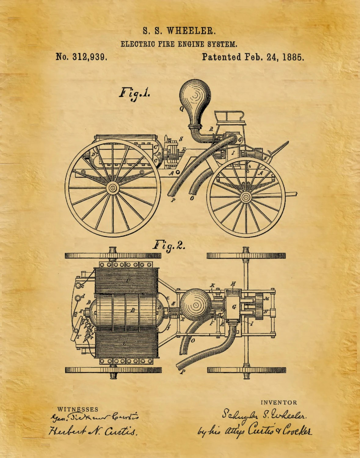 hight resolution of 1885 electric fire engine patent print fire house decor firefighter gift idea fire