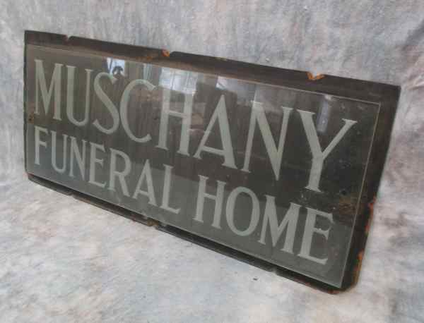 26.5 X 12 Muschany Funeral Home Etched Glass Fiber Vintage