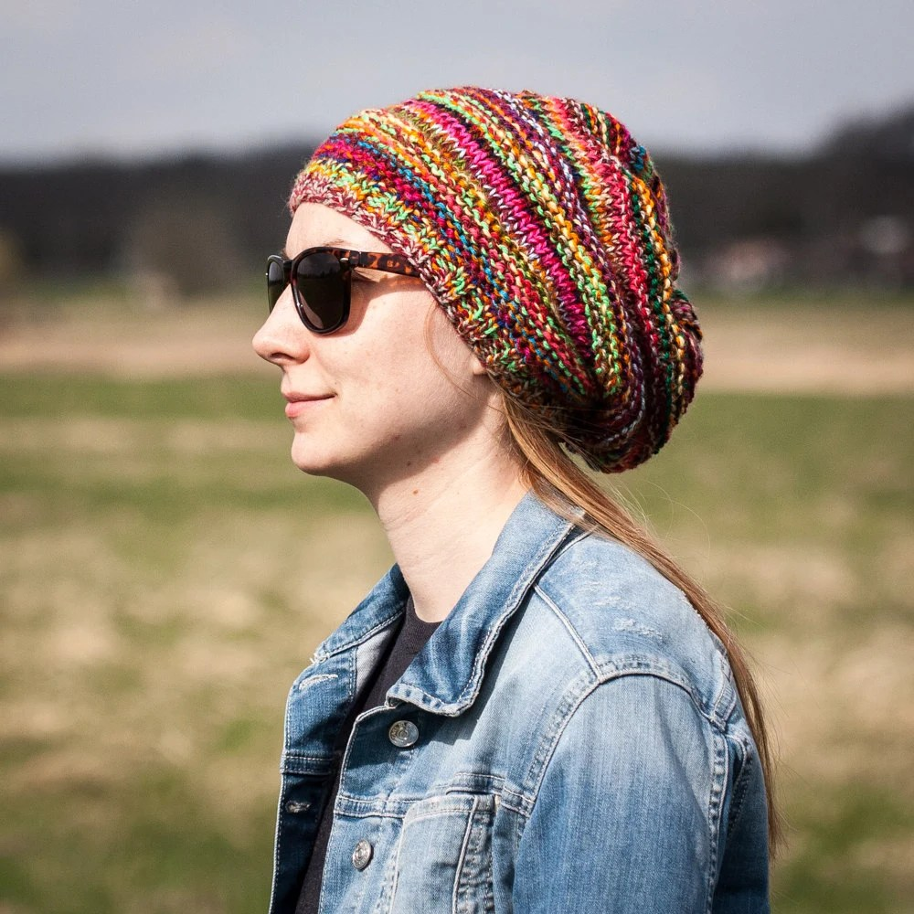 multicolored slouchy beanie hat