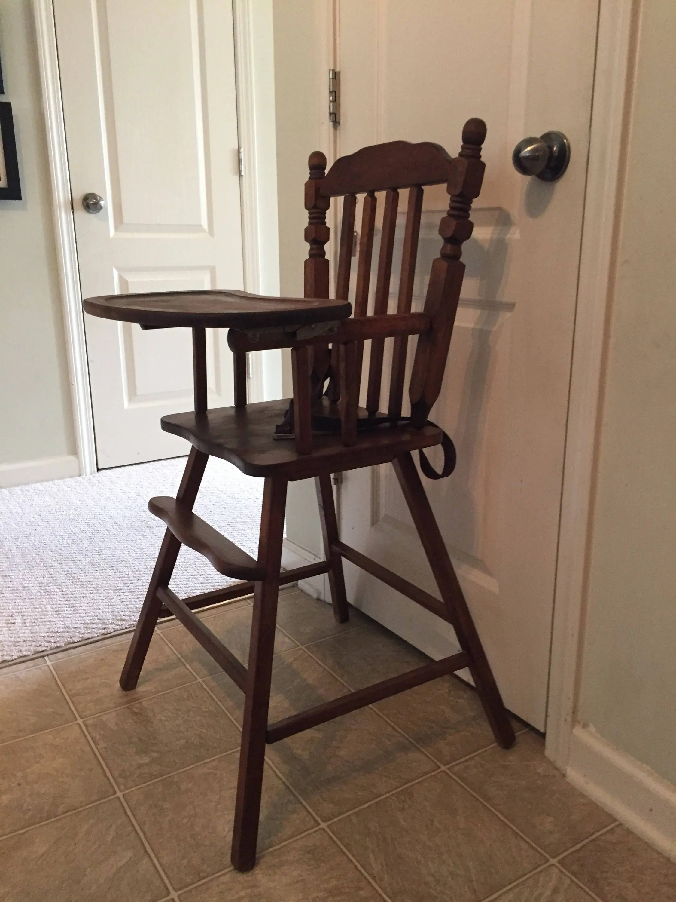 vintage wood high chair preschool tables and chairs clearance etsy fully refinished wooden jenny lind antique highchair