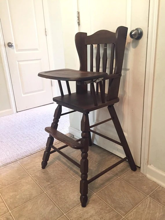 vintage wooden high chair heavy duty lawn chairs fully refinished jenny lind etsy image 0