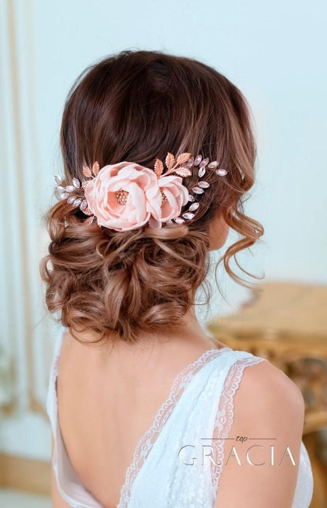 blush bridal hair flower hairpiece floral bridal hair clip blush wedding hair flower blush floral wedding headpiece floral hair accessories