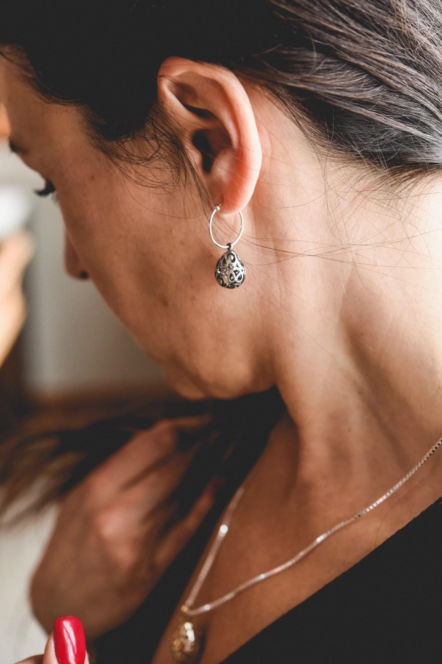 Boucles d'oreilles argent, spirales, chic, intemporelles, goutte