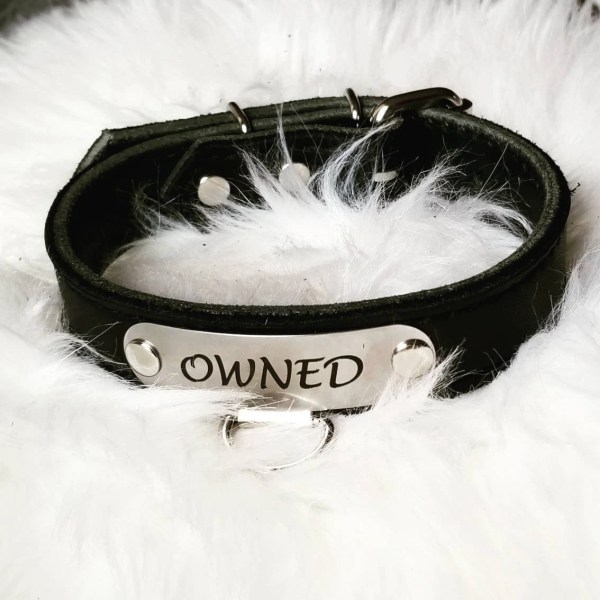 Submissive Black Bdsm Collar With Custom Owned