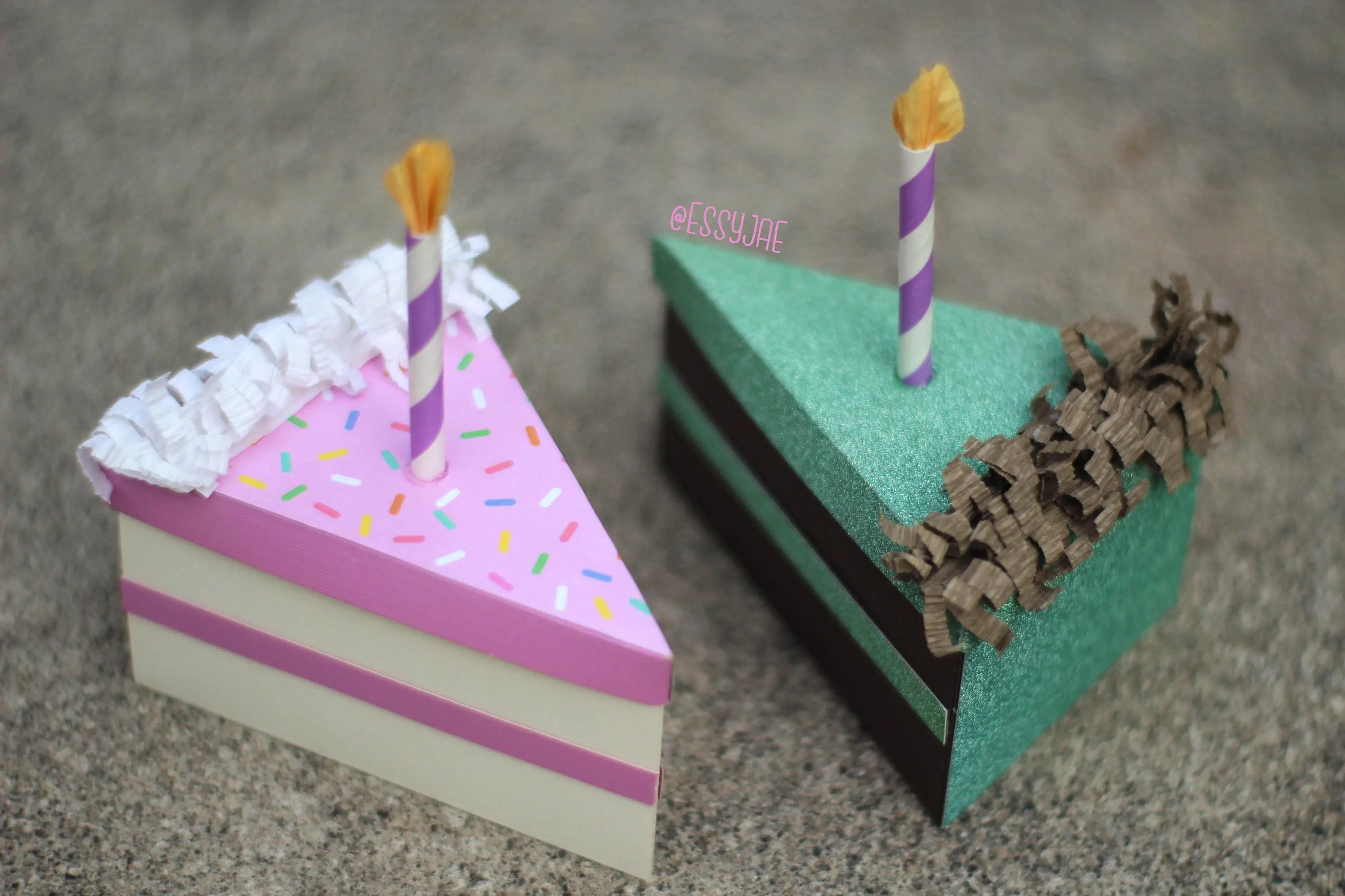 Svg File 3d Birthday Cake Slice Treat Box Gift Box Etsy
