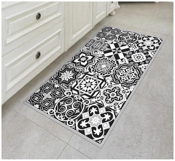 tiva design b w vinyl floor mat decorative linoleum pvc rug etsy