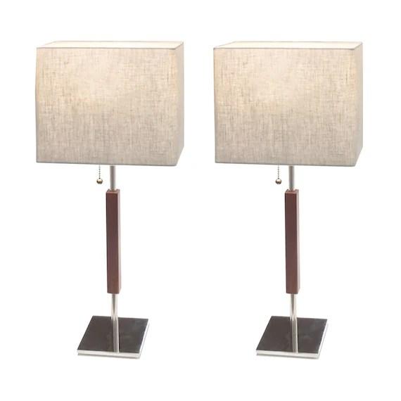 Modern bedside table lamp narrow footprint rectangular linen | Etsy