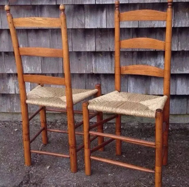 antique cane chairs potty for larger toddlers chair etsy an almost pair of ladder back caned