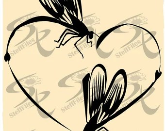 Download Vector DRAGONFLY Love heart clipart valentinesSVGDXFai | Etsy