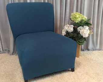 slipcover for armless chair best nursery rocking chairs 2018 slipper cover etsy teal suede accent parsons side