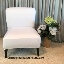 Slipcover For Armless Chair Tall Dining Room Chairs Cover Etsy White Suede Slipper Accent Parsons Side