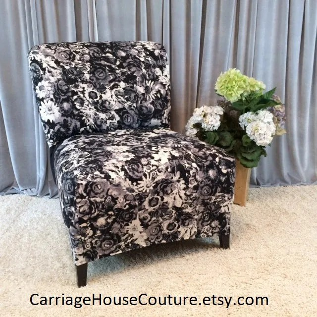 slipcover for armless slipper chair adjustable floating lounge cover etsy black and white floral accent parsons