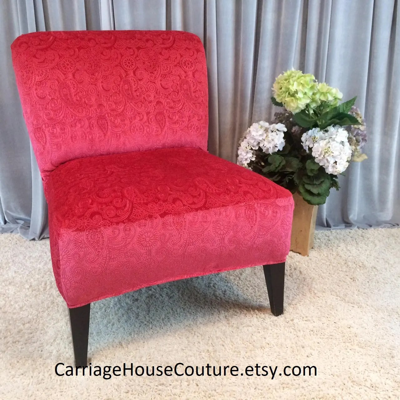 pink slipcover chair black plastic with wooden legs living coral embossed velvet cover for etsy image 0
