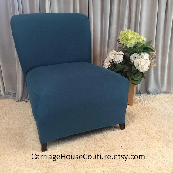 teal chair covers cheap wingback chairs slipcover suede cover for armless slipper etsy image 0