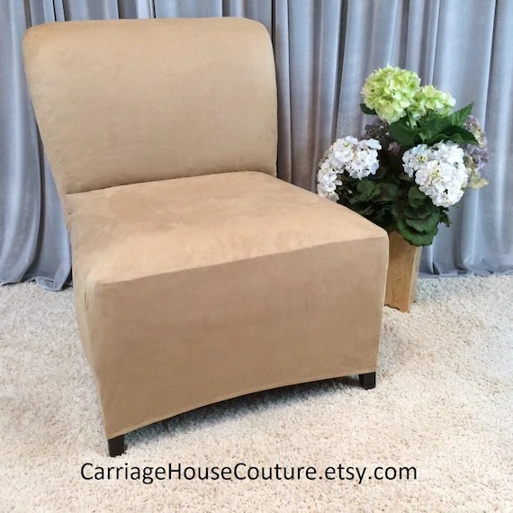 slipcover for armless chair free plans building adirondack chairs beige suede stretch cover etsy image 0