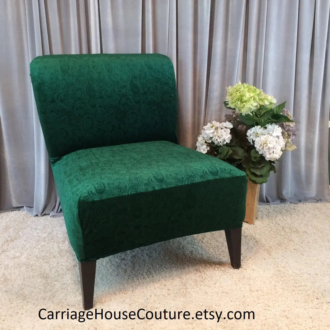 Parsons Chair Covers Emerald Green Embossed Velvet Slipcover Chair Cover For Armless Chair Slipper Chair Accent Chair Parsons Chair Rust Coral Black
