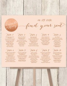 Wedding seating chart sign rose gold sparkle metallic faux foil and coral printable file or printed  shipped also rh jadeforestdesign
