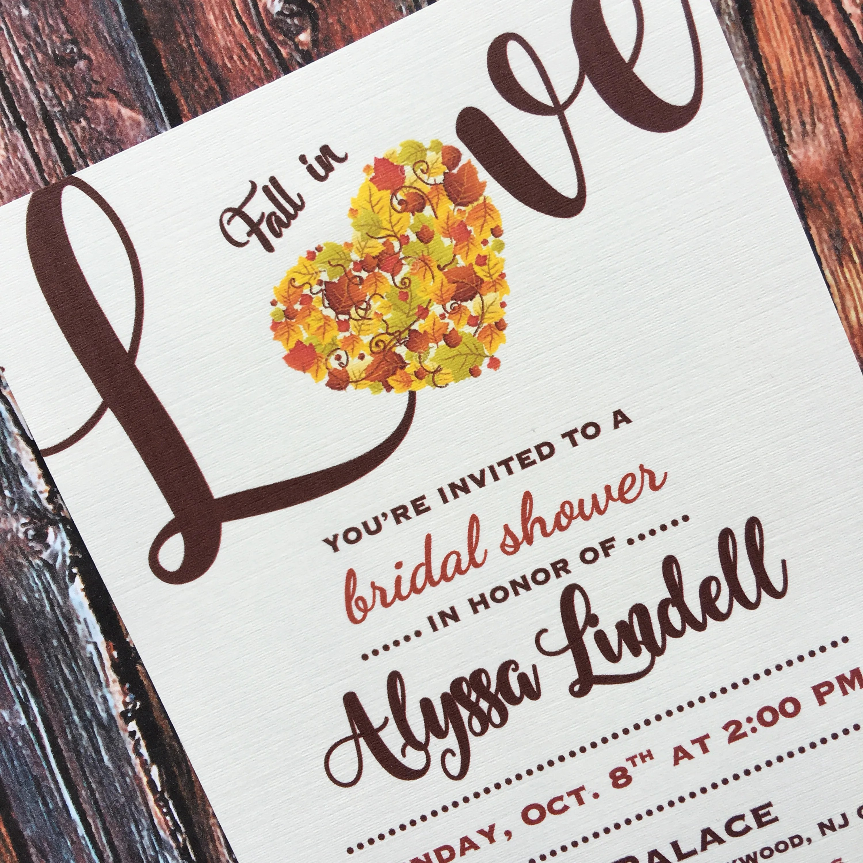 Learn exactly how to address bridal shower invitations and word them! Fall In Love Bridal Shower Invitations Fall Autum Leaves Theme Shower