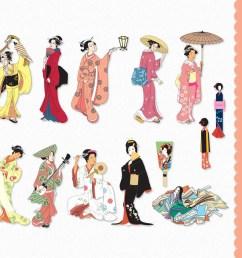 japanese women clip art graphics traditional japan clipart scrapbook people digital download commercial use transparent png jpg vector [ 1000 x 900 Pixel ]