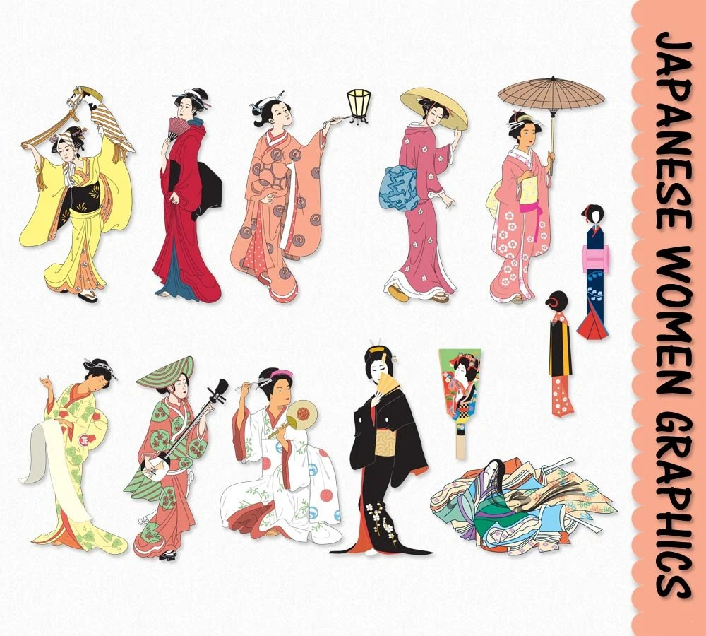medium resolution of japanese women clip art graphics traditional japan clipart scrapbook people digital download commercial use transparent png jpg vector