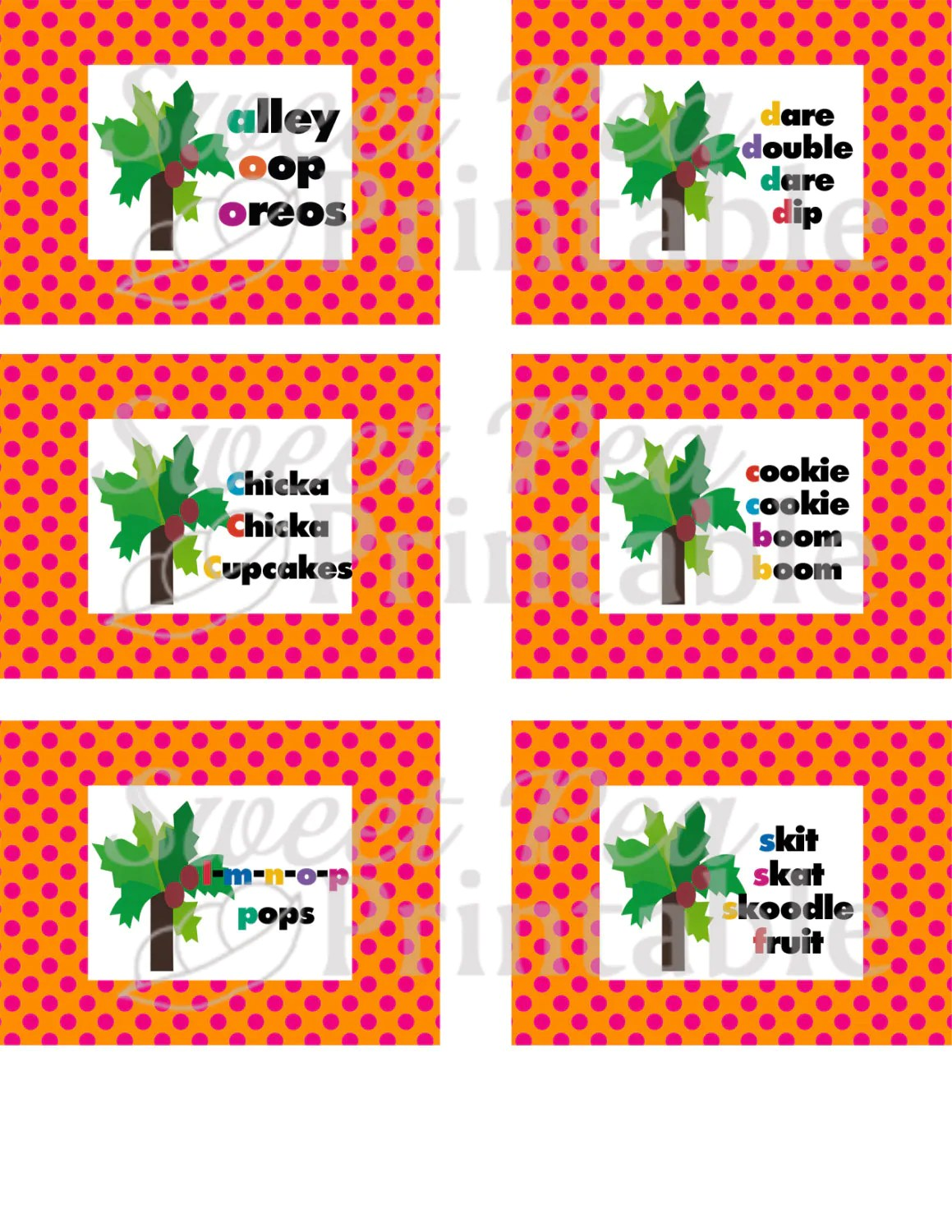 Instant Download Printable Chicka Boom Boom Inspired Food