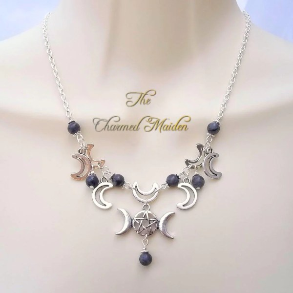 Moonstone Triple Moon Wicca Necklace Silver Wiccan