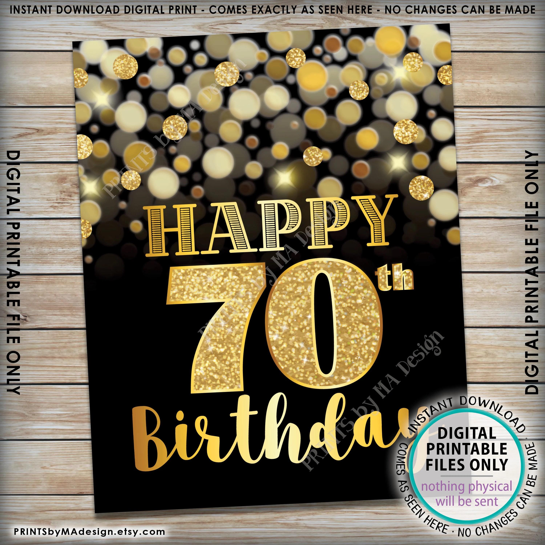 70th Birthday Sign Happy Birthday 70 Golden Birthday
