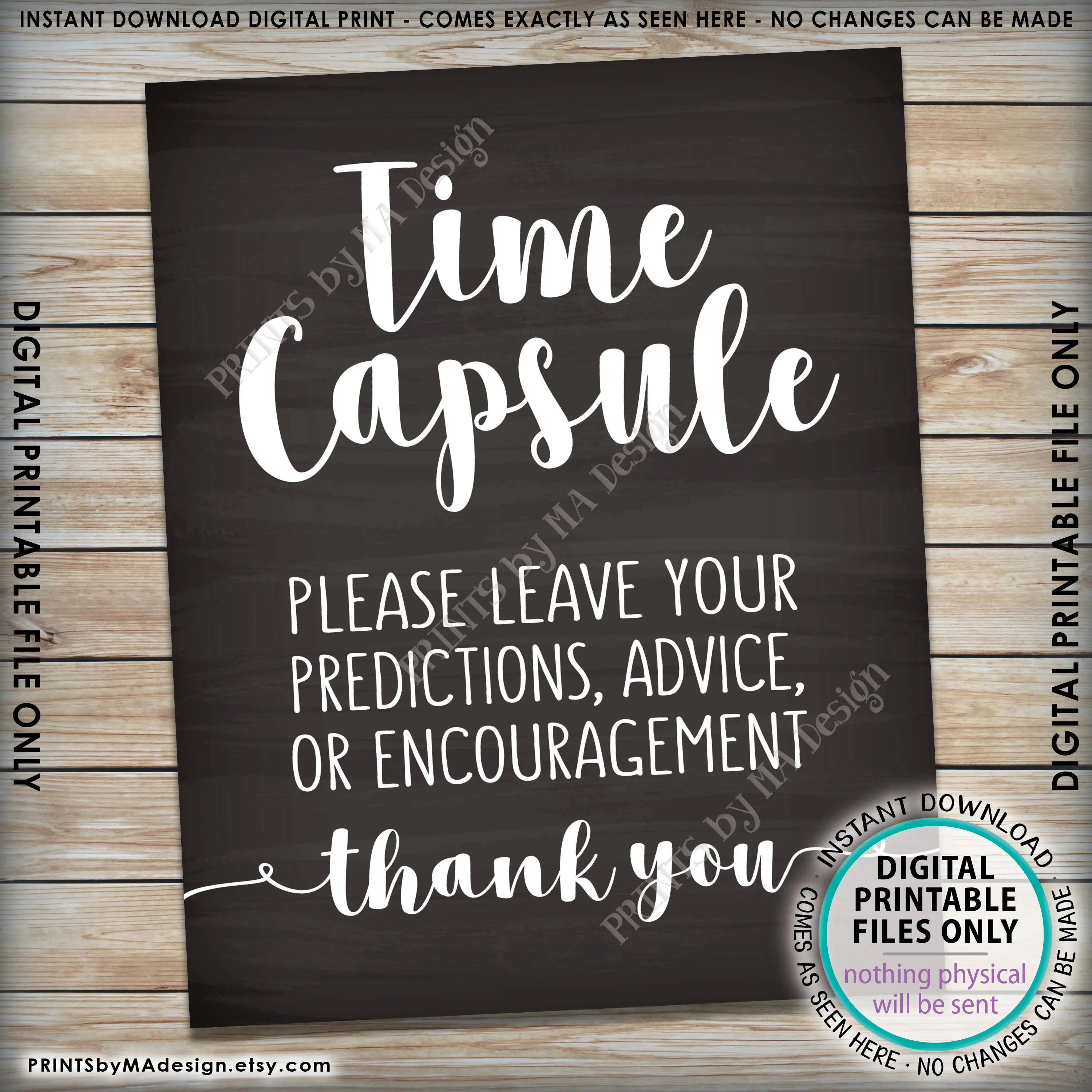 Time Capsule Wedding Guest Book Alternative Baby Shower Time Capsule Sign Bridal Shower 8x10