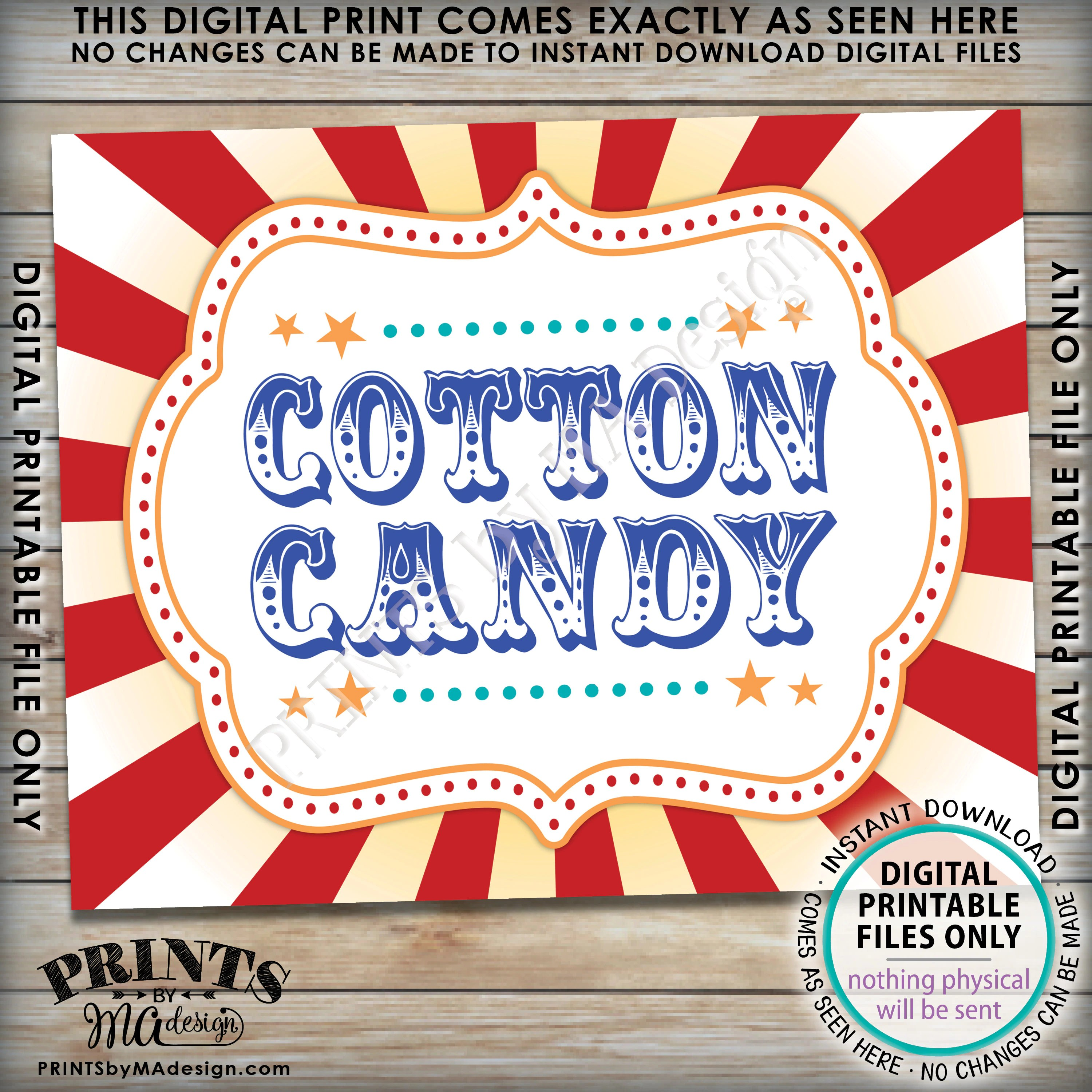 Carnival Cotton Candy Sign Circus Cotton Candy Station