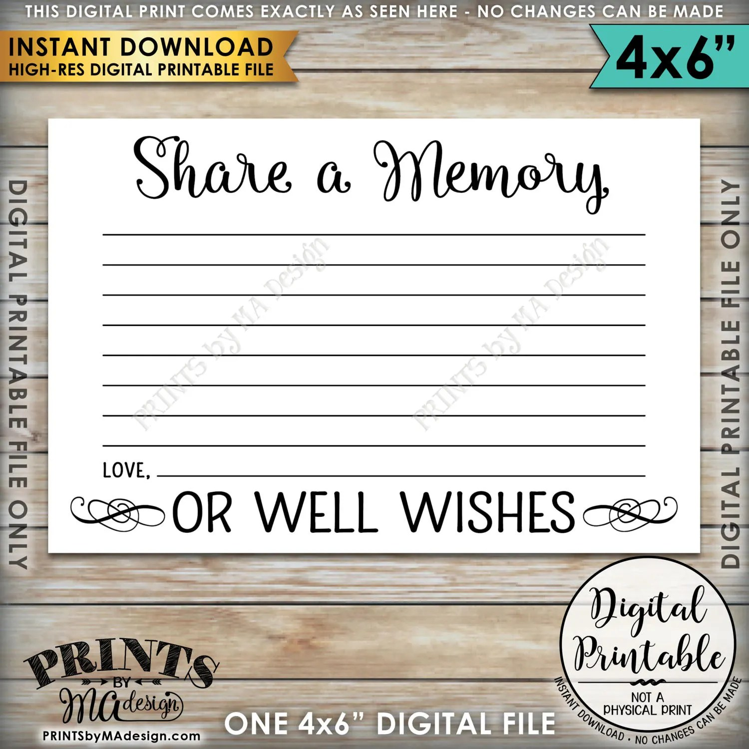 Share A Memory Card Share A Memory Or Well Wishes Card