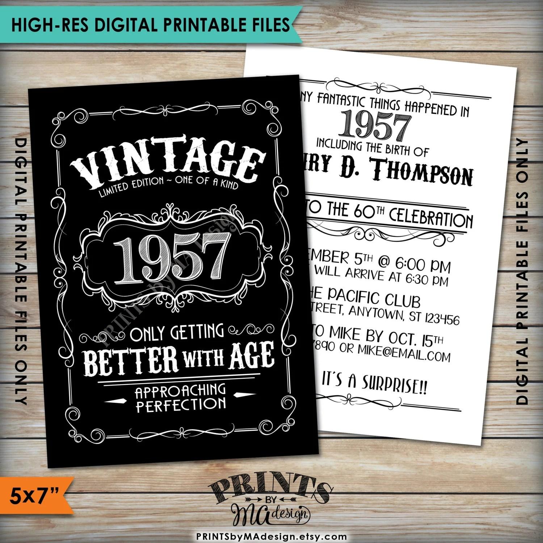 vintage birthday invitation aged to