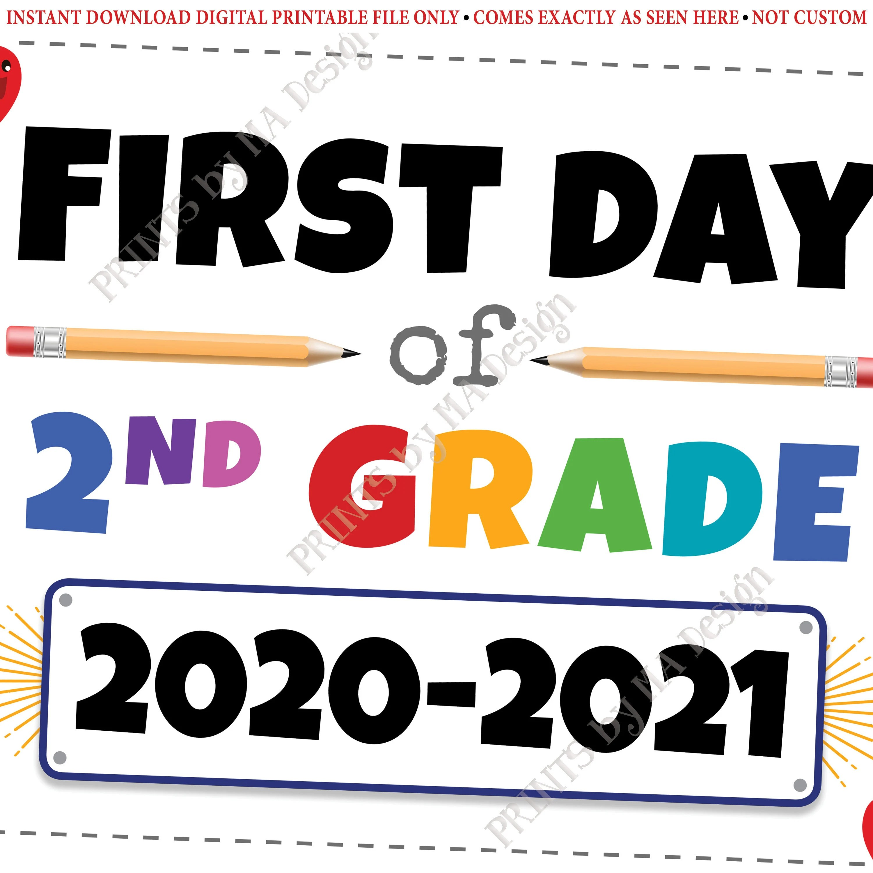 First Day Of School Sign Second Grader Starting 2nd