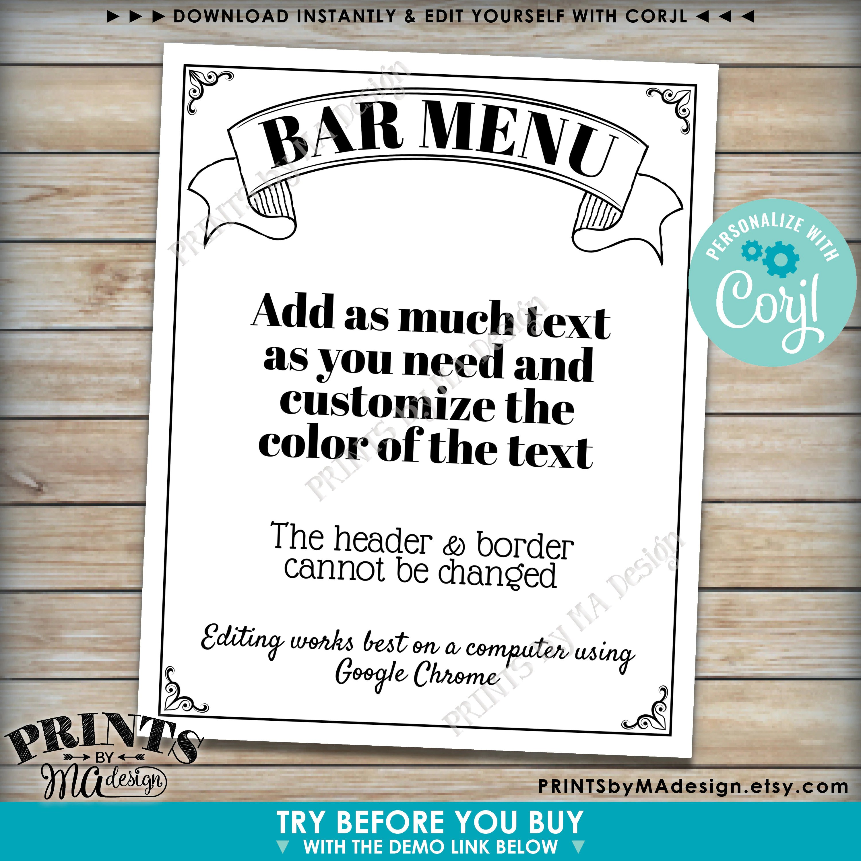 Bar Menu Sign Custom Printable 8x10 16x20 Black Amp White