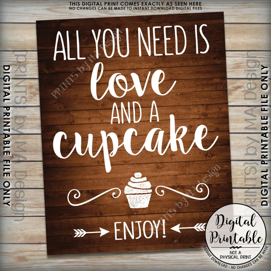 Download All You Need is Love and a Cupcake Sign, Wedding Cake Sign ...