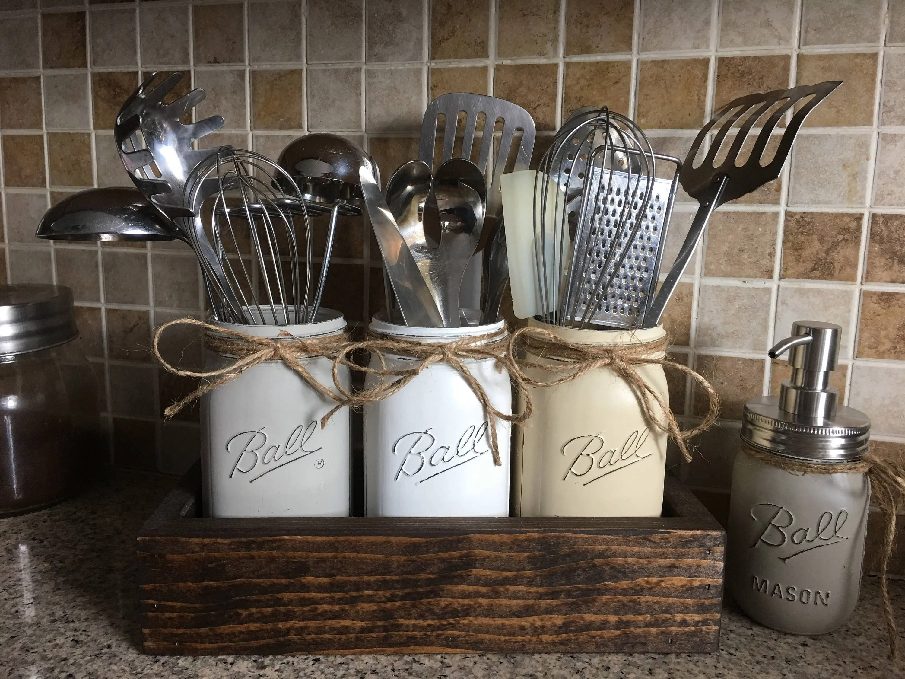 kitchen decor sets and bath jars containers etsy rustic utensils holder mason jar farmhouse