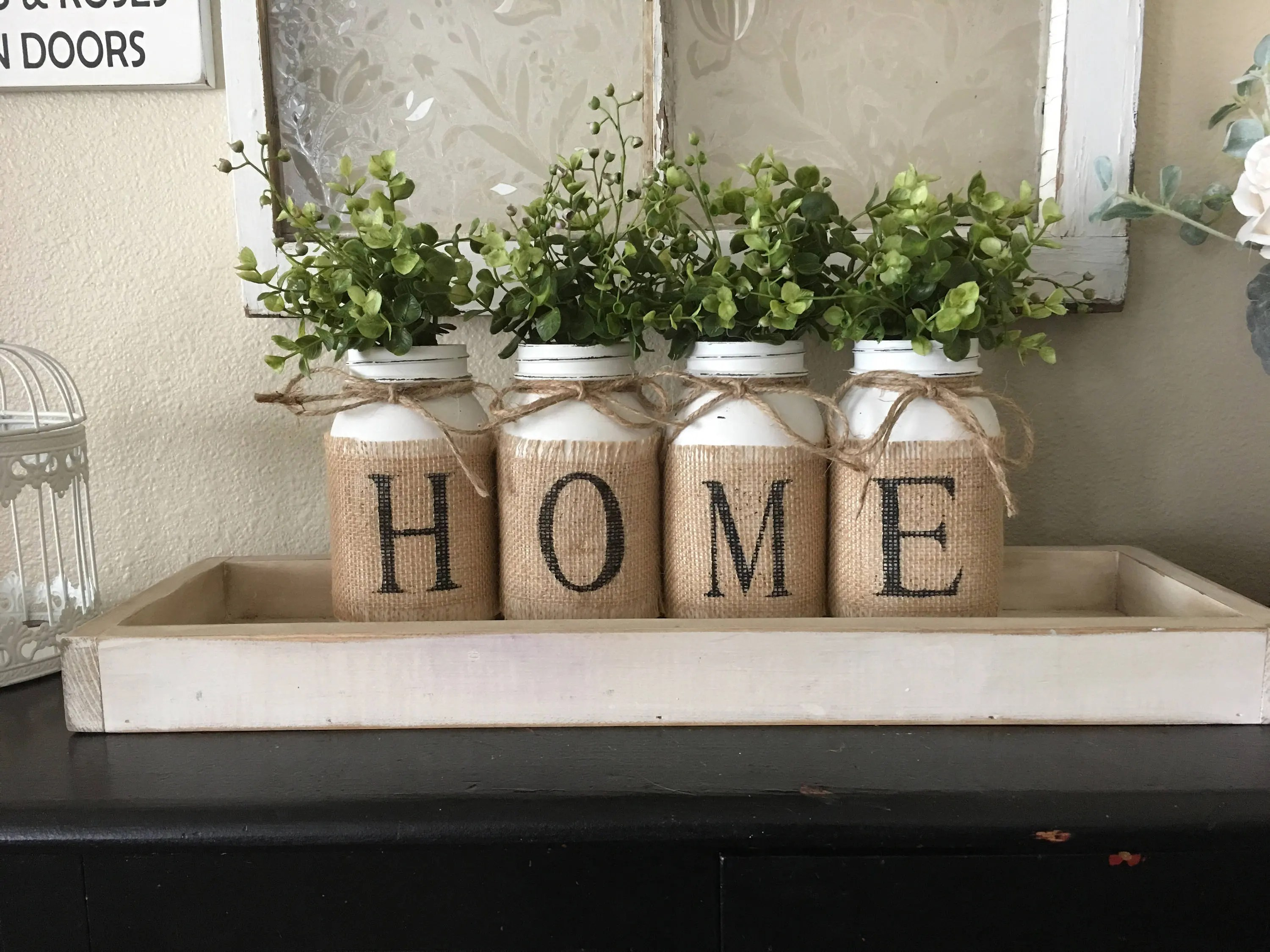 living room decorative items half wall tiles design for decor etsy country home mason jars with burlap painted flowers southern rustic