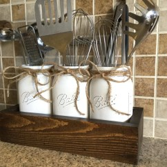 Kitchen Deco Wholesale Faucets Rustic Decor Etsy Utensils Holder Mason Jar Organization