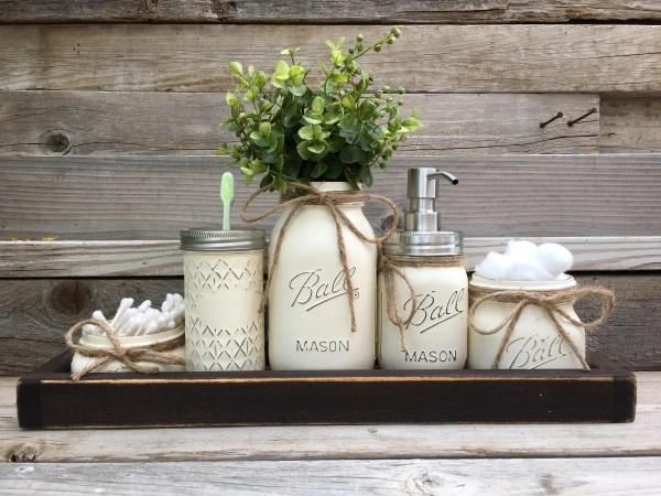 Rustic Bathroom Decor Farmhouse Mason Jar