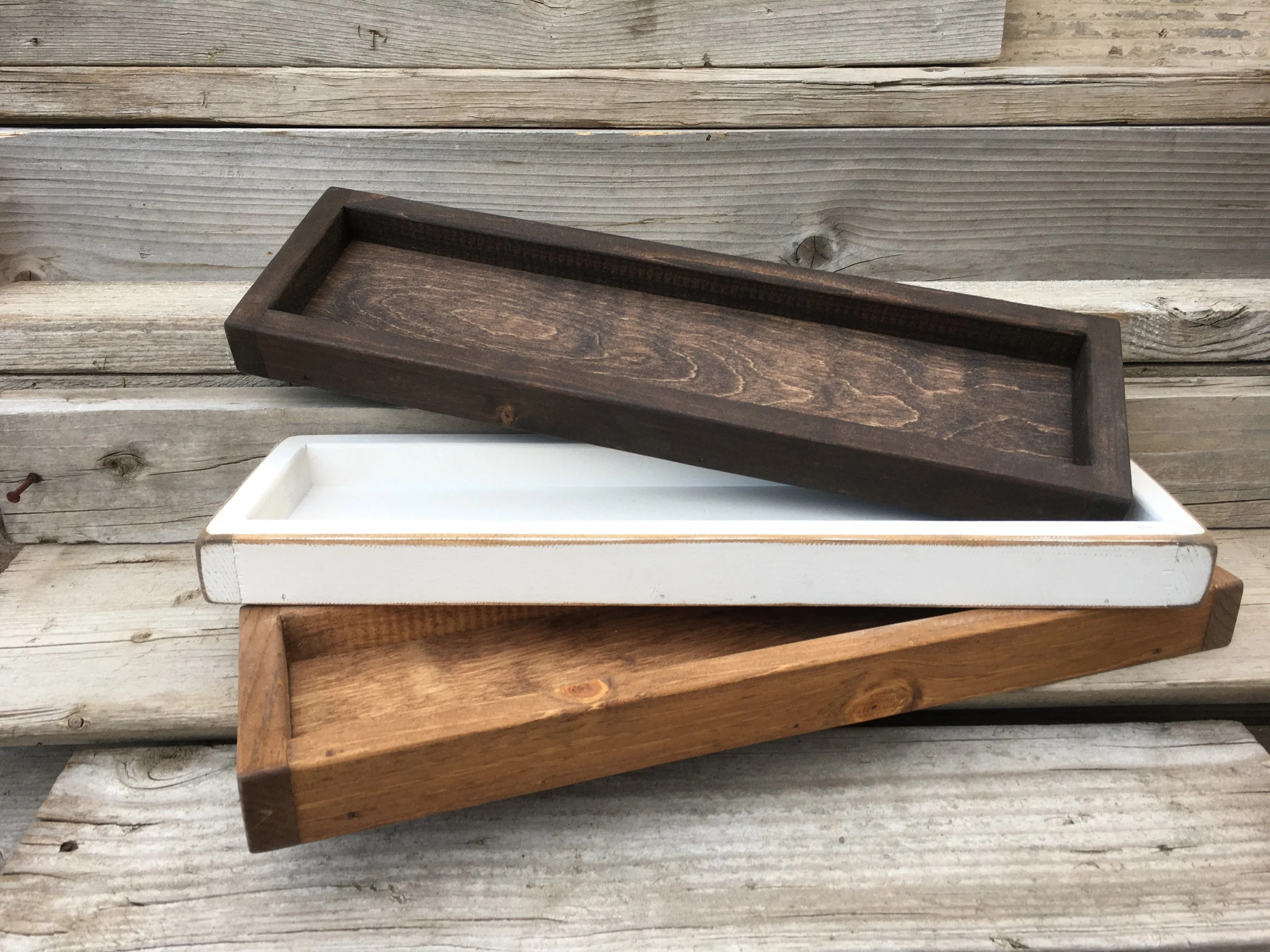Wood Tray Bathroom Tray Rustic Wood Tray Wooden Etsy