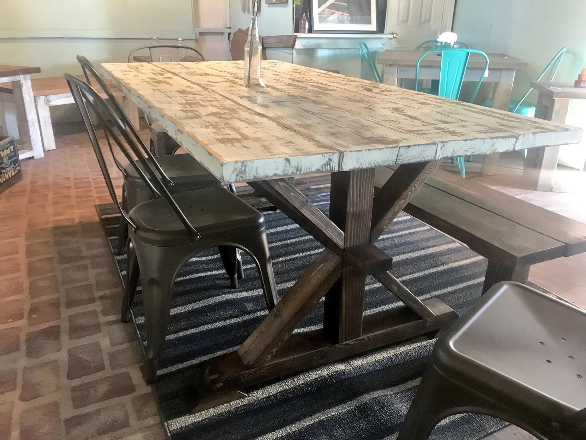 farmhouse table and chairs with bench low back computer chair etsy rustic pedestal wood set long metal 6ft dining weathered white top dark walnut base